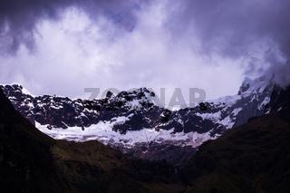 Glacier at snow covered El Altar Volcano in the Andes in Ecuador