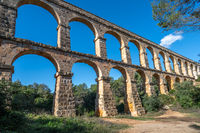 Ancient roman aqueduct Ponte del Diable or Devil's Bridge in Tarragona, Spain.