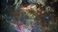 Colored nebula and open cluster of stars in the universe.