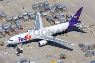 FedEx Express Boeing 767-300F airplane Los Angeles airport aerial view