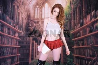 Vollbusige Rothaarige verkleidet als Schulmadchen in einem Harry Potter Film