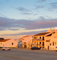 Sunset Portugal town  cars parking