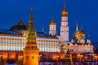 Winter night view of Moscow Kremlin