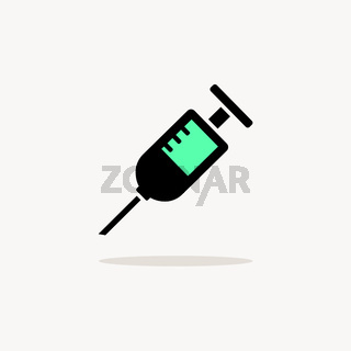 Syringe. Icon with shadow on a beige background. Pharmacy vector illustration