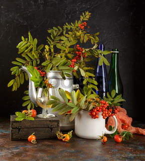 autumn still life with rowan
