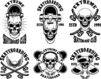 Set of skateboarding club emblems with skulls. Design element for poster