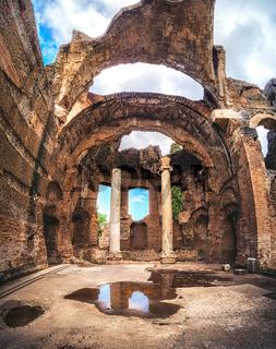 Tivoli Villa Adriana roofless roman temple no ceiling of Grand Thermae or Grandi Terme at Hadrians Villa in Rome Lazio - UNESCO archaeological Italy