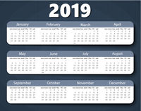 Calendar 2019 year vector design template. Week starting on Sunday