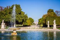 Tuileries Garden pond, Obelisk and triumphal arch, Paris, France