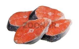 Four pieces of fresh salmon fish antecotes isolated macro