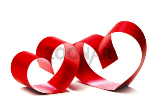 Red hearts of ribbon bow
