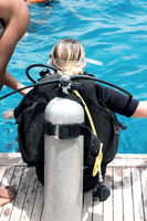 Young woman divers are trained