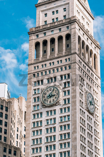 Close view of ornament on the building exterior of Metropolitan Life Insurance Company Tower on Madison Square New York City