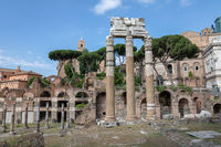 Panoramic view of temple of Venus Genetrix is ruined temple and forum of Caesar