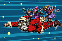 superhero Santa Claus with children. Christmas and New year