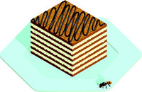 Honey cake in isometric style