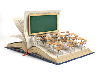 Open book and a classroom with blackboard and school desks isolated on white background. Education concept.