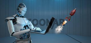Humanoid Robot Notebook Rocket