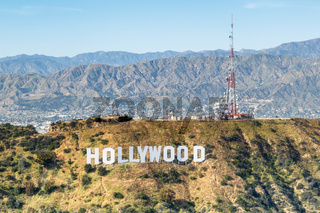 Hollywood sign Los Angeles aerial view hills
