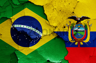 flags of Brazil and Ecuador painted on cracked wall