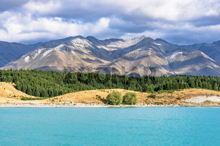 Lake Pukaki mit den Südalpen im  Mackenzie District in der Region Canterbury auf der Südinsel von Neuseeland