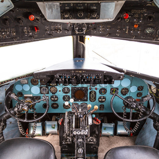 Istanbul, Turkey, 23 March 2019: Cockpit of Douglas DC-3 at Rahmi M. Koc Museum on February 11, 2012 Istanbul, Turkey. Over 16,000 Douglas DC-3 was produced 1936 to 1950