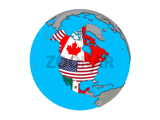 NAFTA memeber states with flags on globe isolated