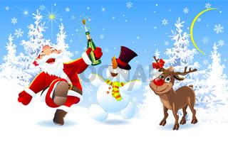 Merry Santa, deer and snowman