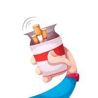 Man offers to smoke. Cartoon illustration.