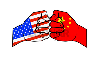 Two fists with US flag and China flag