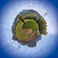 Miniature planet of valley between mountains