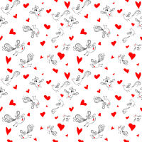 Vector seamless pattern with birds and hearts.