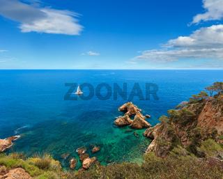Summer sea rocky coast view, Spain