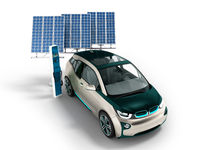 Modern refueling over a network of electric car blue solar panels for refueling 3D render on a white background with a shadow