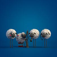 3d illustration four cute cartoon sheeps playing music on dark blue background
