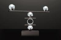 Balance with several balls, 3D illustration