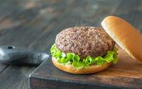 Hamburger on the cutting board