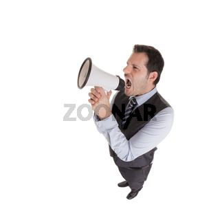 Businessman in a crazy fisheye perspective isolated on white background.