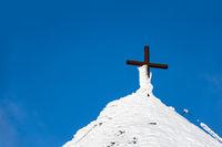 Detail eines Gebäudes auf der Schneekoppe im Riesengebirge in Tschechien