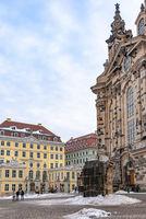 Hinter der Frauenkirche zu Dresden, Sachsen, Deutschland
