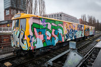 Berlin subway train  (BVG, U-Bahn) with graffiti