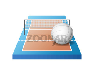 3d volleyball court with grid and white ball
