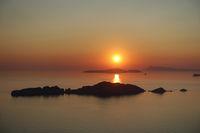 Malerischer Sonnenuntergang in Afionas, Korfu, Griechenland