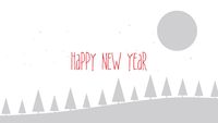 Happy New Year text, mountains, forest and snowing landscape