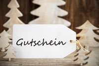White Christmas Tree, Label, Gutschein Means Voucher