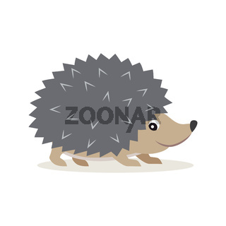 Icon of gray hedgehog isolated, forest, woodland animal