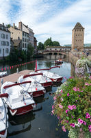 Strasbourg canals with boats ready for sightseeing through the old town