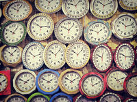 Many different wall clock on the wall