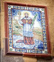 The fresco of the Catholic Saint with the attributes of faith