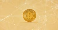 Bitcoin Münze mit Netzwerk Hintergrund